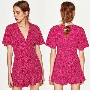 Zara Pink Polka Dot Romper NWT💖